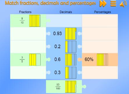 Match Fractions, decimals and Percentages